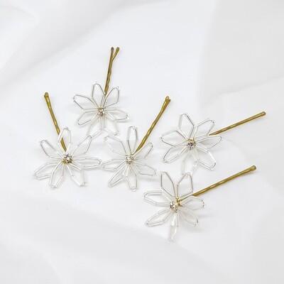 Bobby pins - set van 5 spelden witte staafjes  bloemen en strass