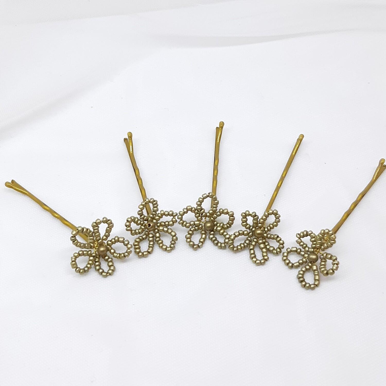 Bobby pins - set van 5 kleine bronzen bloemetjes