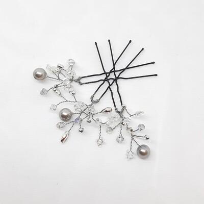 Haarpins - set van 3 spelden met grijze en zilveren parels