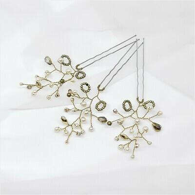 Haarpins - set van 3 pins met brons kleurige parels