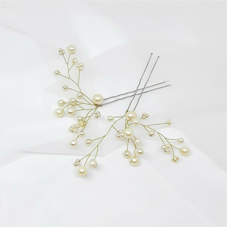 Haarpins - set van 2  pins met goud draad en parels