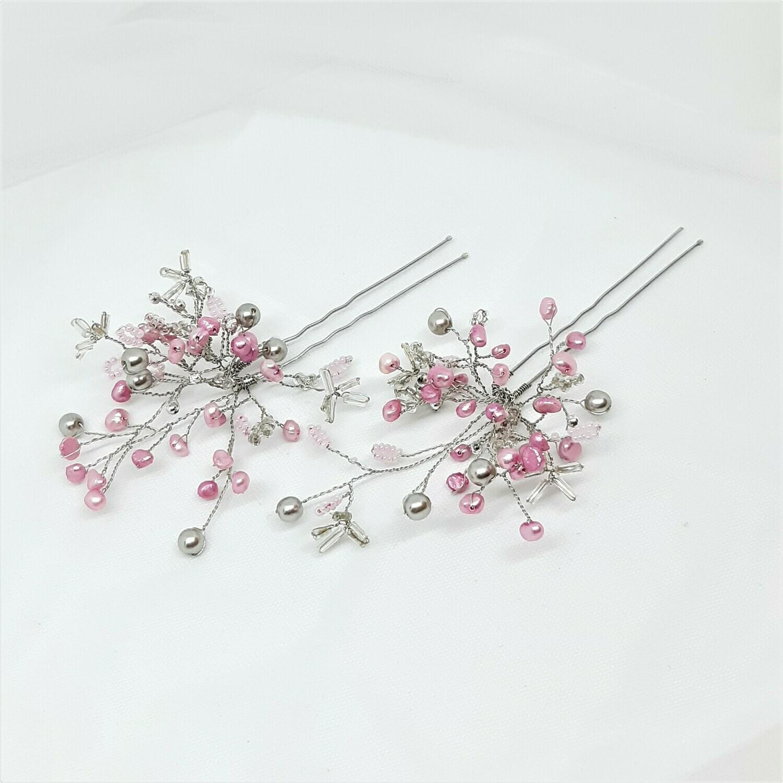 Haarpins - set van 2 pins met roze parels en zilverdraad