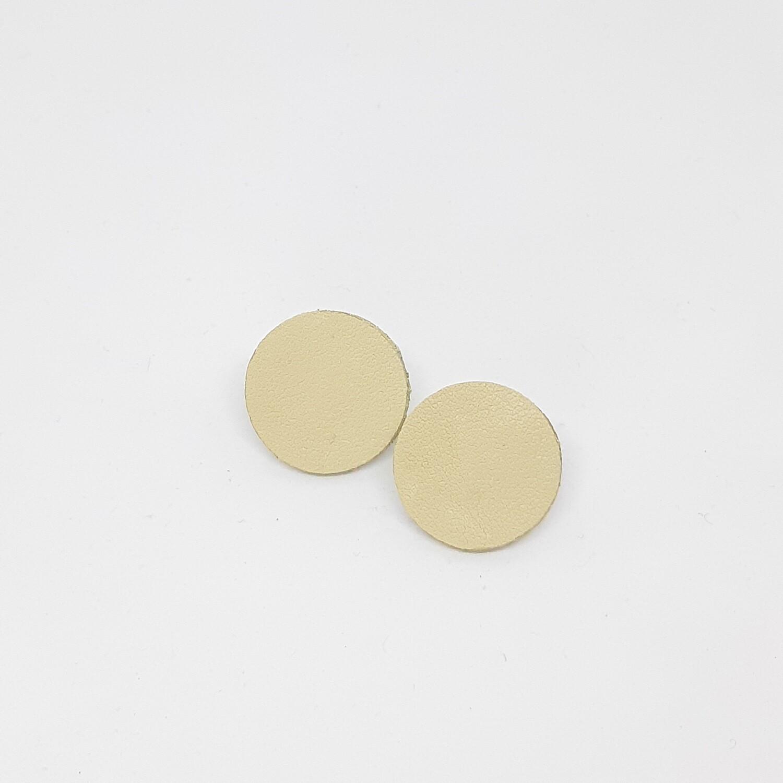 Oorbellen in ecru leder met een gouden randje -diam: 2,4 cm