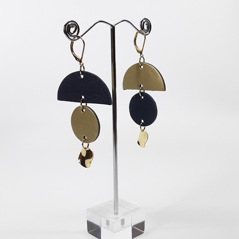 Statement oorbellen in duo color fantasie - blauw & goud