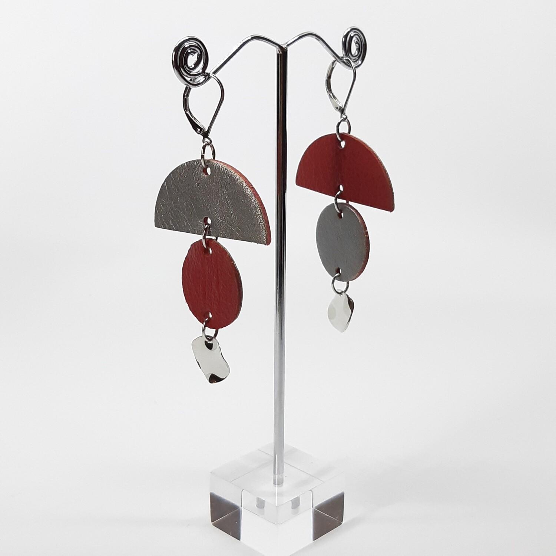 Statement oorbellen in duo color - rood & zilver