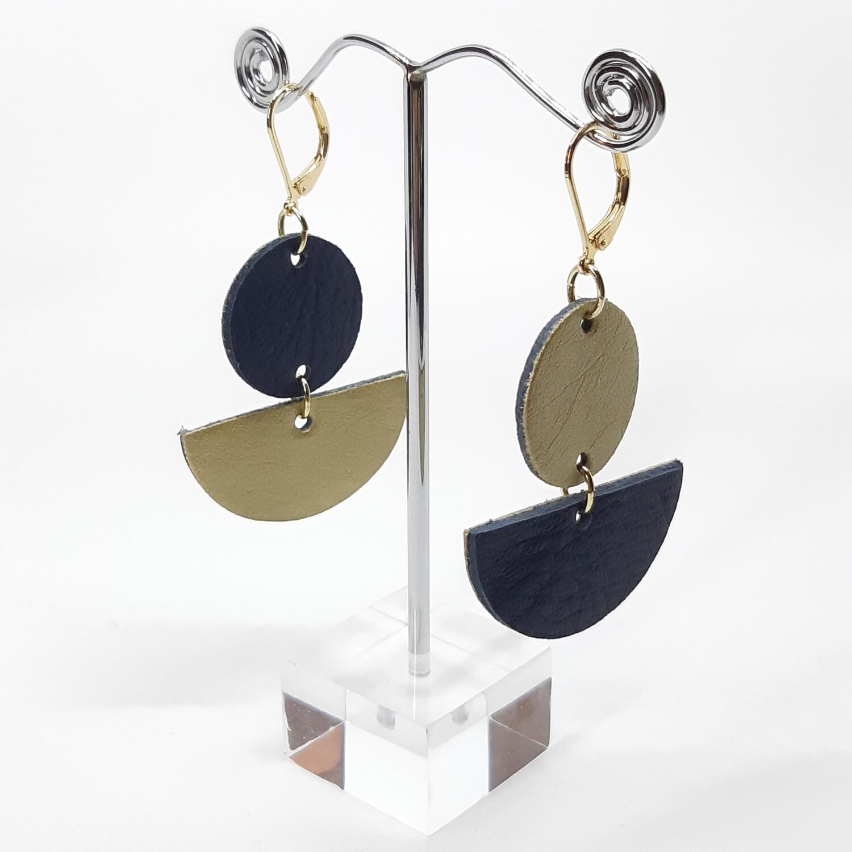 Statement oorbellen in duo color - blauw & goud