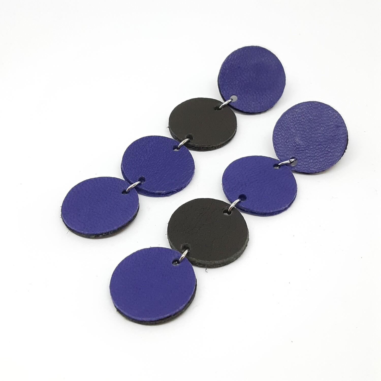 Statement oorbellen asymmetrisch - violet & zwart leder - 4 bolletjes