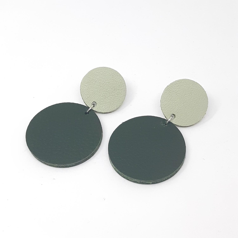 Statement oorbellen duo color - munt groen & donker groen leder