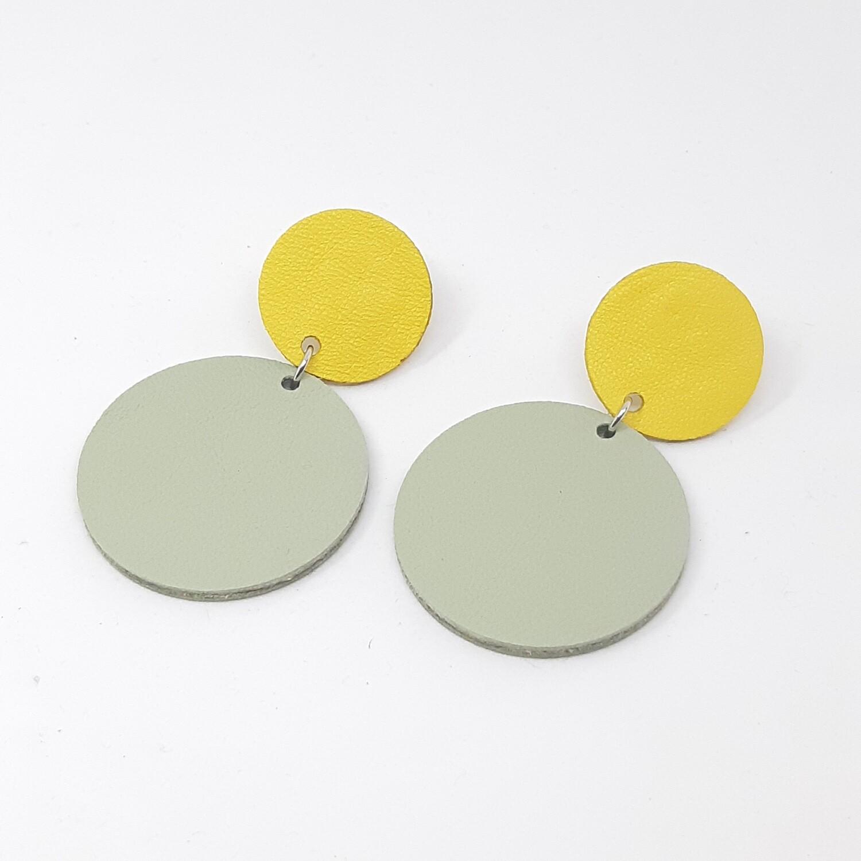 Statement oorbellen duo color - geel & munt groen leder