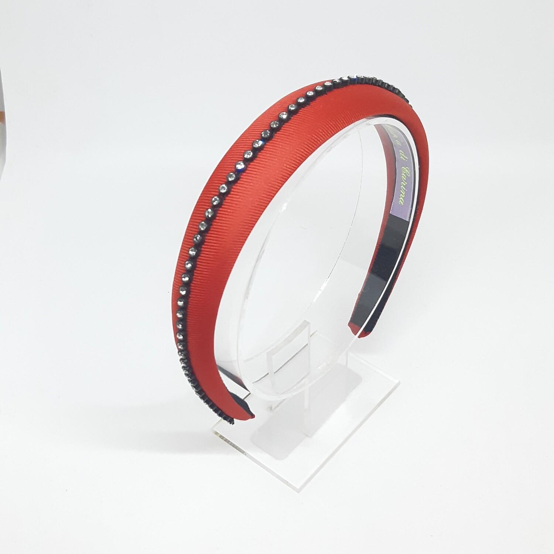 Diadeem met een fijne strook strass kristallen - rood