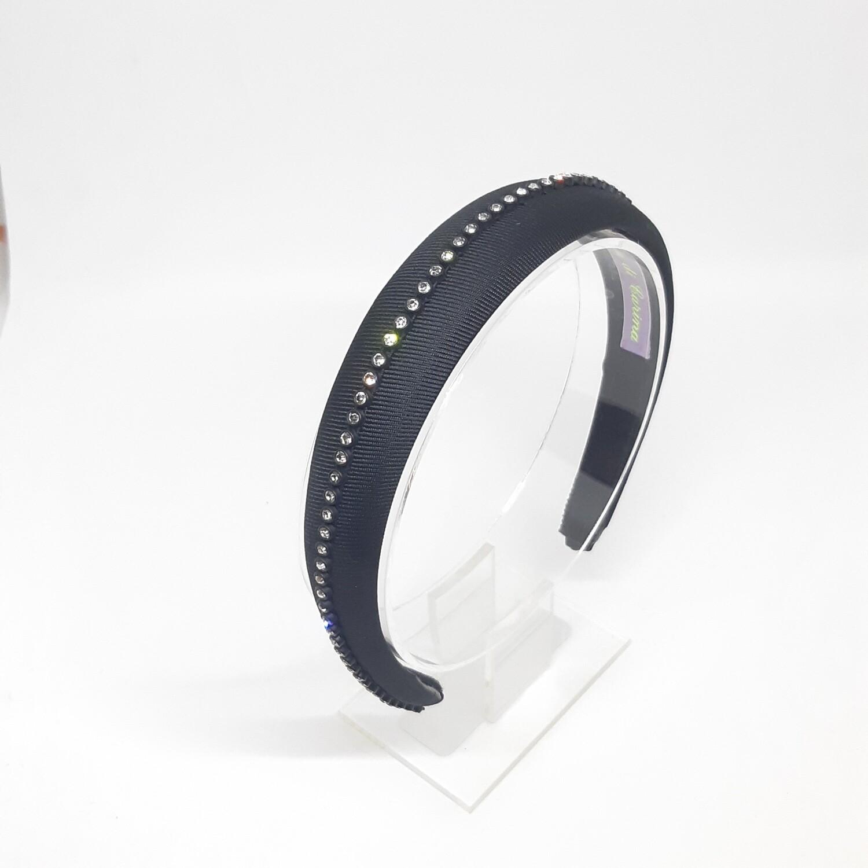 Diadeem met een fijne strook strass kristallen - zwart