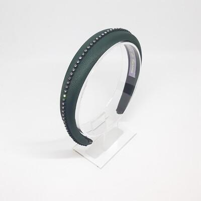 Diadeem met een fijne strook strass kristallen - groen