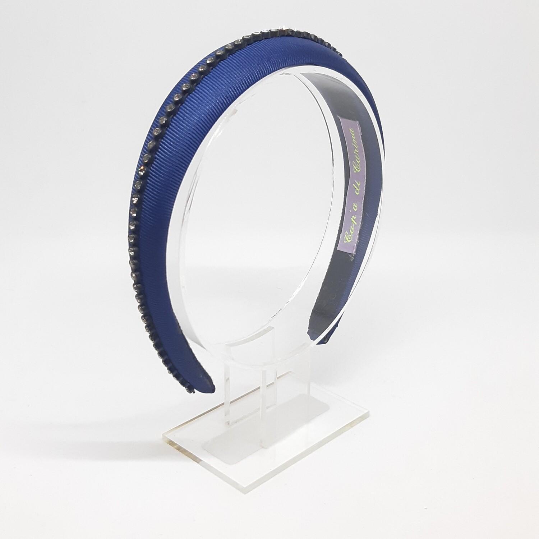 Diadeem met een fijne strook strass kristallen - blauw