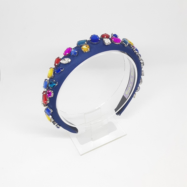 Diadeem D&G-stijl met veel kleurige Swarovski kristallen
