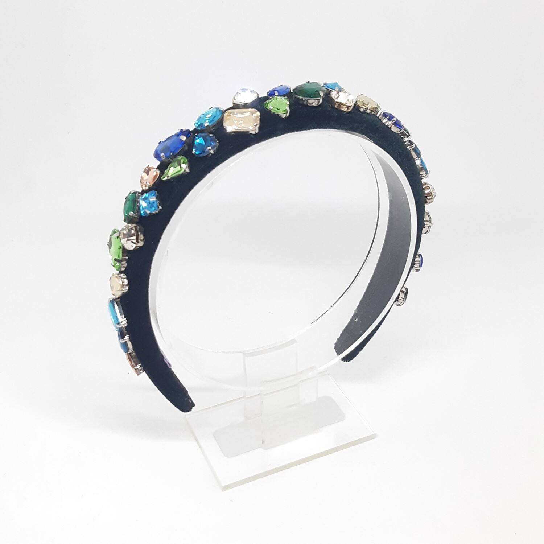 Diadeem D&G-stijl met witte, geel, groen en turquoise Swarovski kristallen