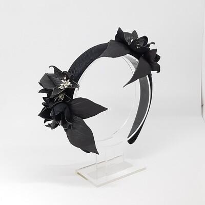 Diadeem zwart met lederen bloemen
