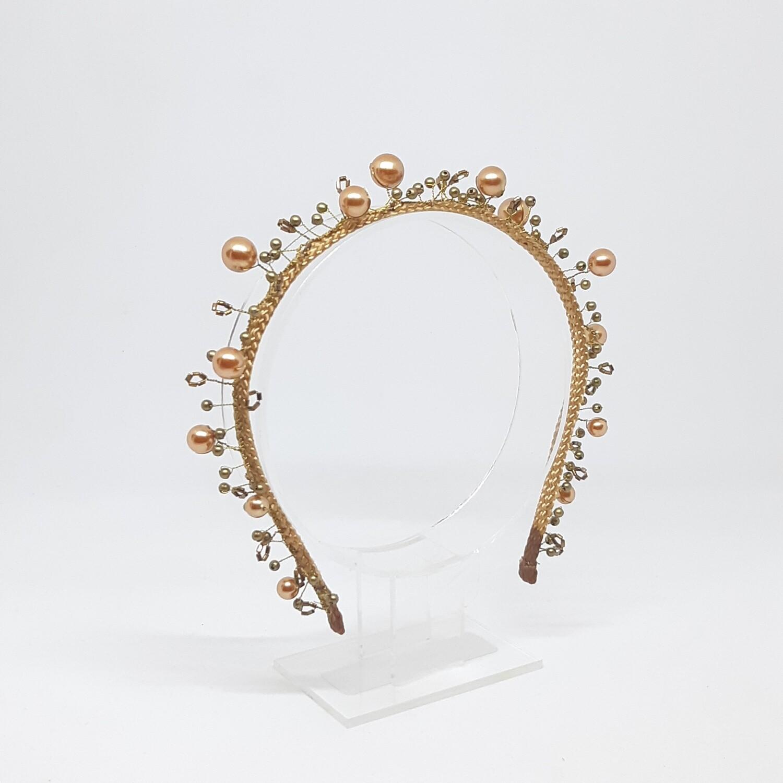 Diadeem brons en goud kleurige parels