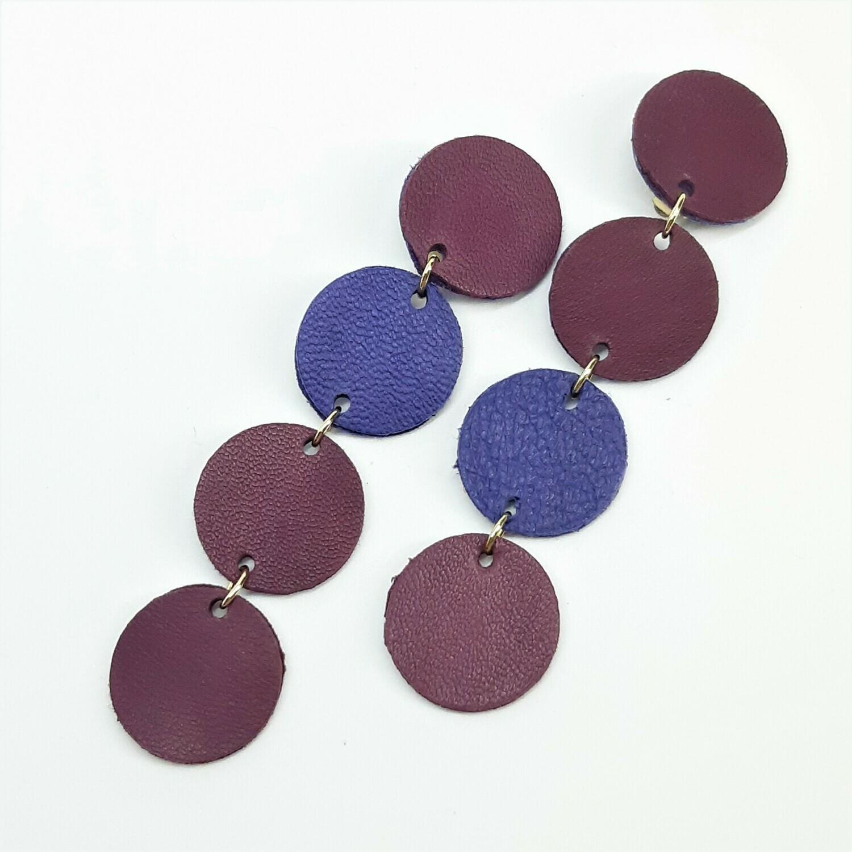 Statement oorbellen asymmetrisch - violet & aubergine