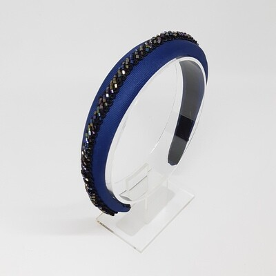 Diadeem met fijn geparelde boord - blauw