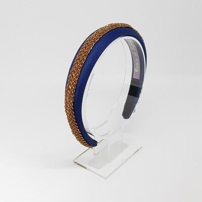 Diadeem met brons-kleurige vlecht - blauw