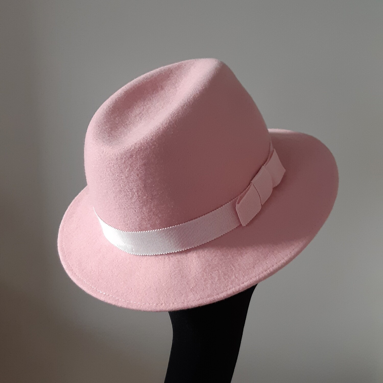 Fedora hoed in wolvilt - roos - mt 56