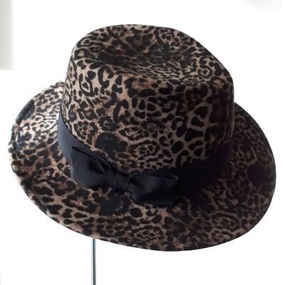 Fedora hoed in wolvilt met lynx print maat 57,5