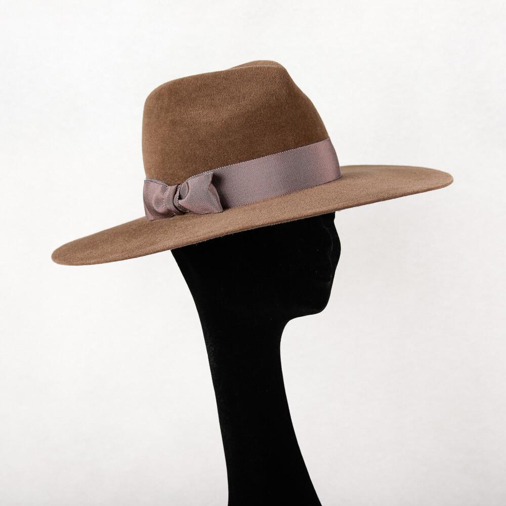 hoed model Fedora haarvilt velours - taupe & t-s-t lint - mt 58
