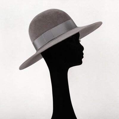Hoed model Classic in haarvilt velours muizen grijs & lint - mt 58