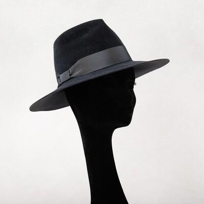 Hoed model Fedora haarvilt velours - antraciet & t-s-t lint - mt 57