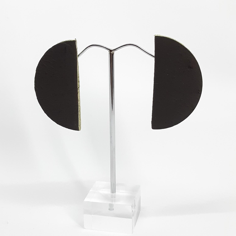 Oorbellen met een gouden randje - bruin zwart leder - 5 cm
