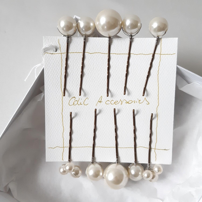 Bobby pins - set van 10 haarspelden met grote en kleine parels