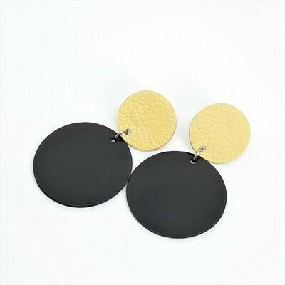 Statement oorbellen duo color - beige & zwart