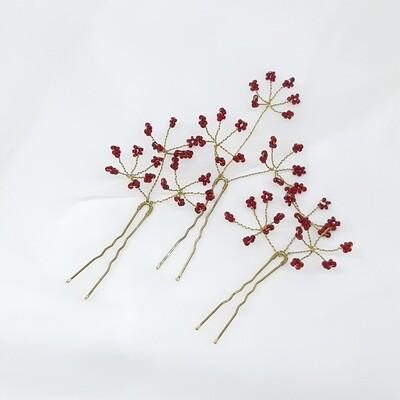 Haarpins - set van 3 pins met rode parels en gouddraad