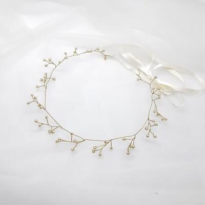 Bruidsaccessoire - Boho-kroon met fijne parels en goud draad
