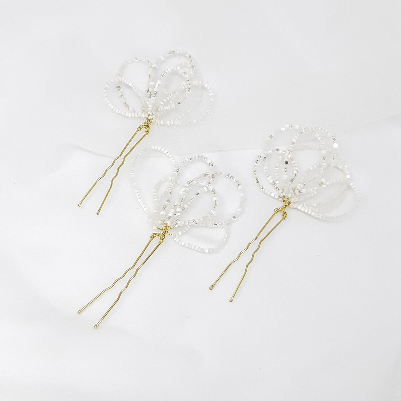 Haarpins - set van 3 pins - met gemengde witte parels