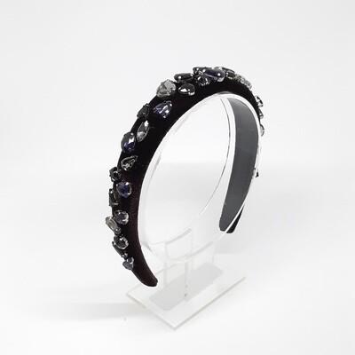 Diadeem D&G-stijl met heldere tot  diep paarse Swarovski kristallen