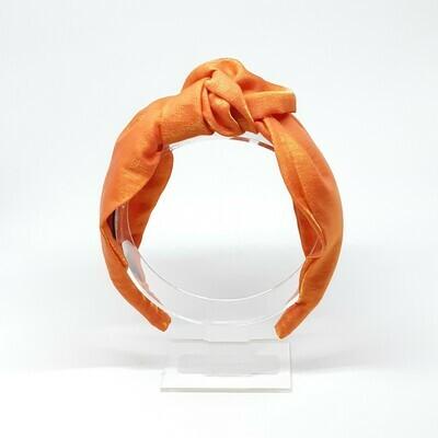 Diadeem van glanzend satijn met knoop oranje