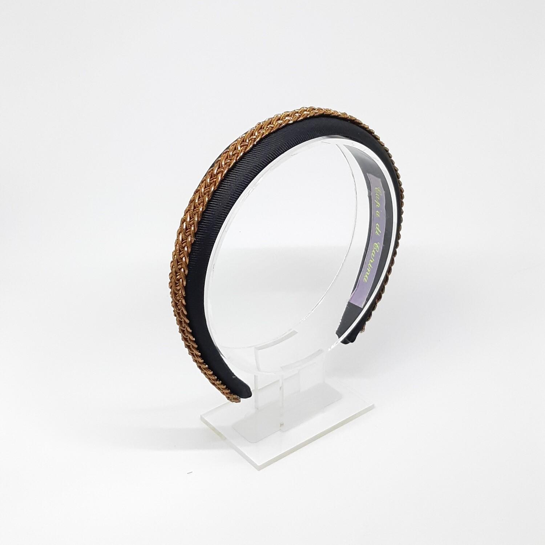 Diadeem met brons-kleurige vlecht - zwart