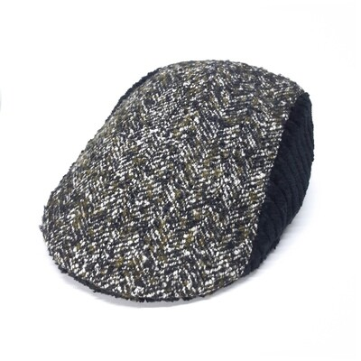 Winter cap in black rib velvet and olive grey bouclé - mt 56