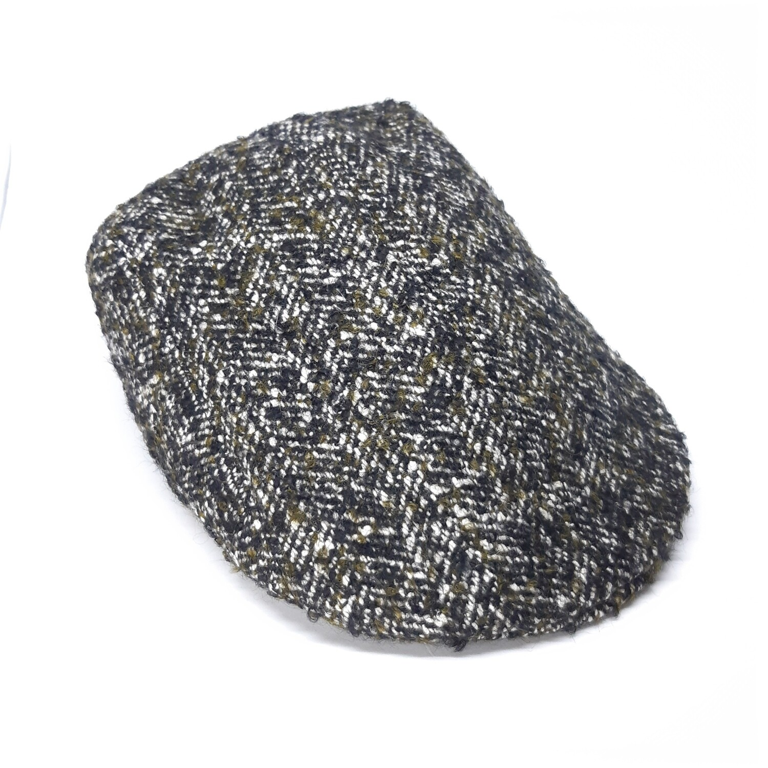 Winter cap in black and olive grey bouclé - mt 57