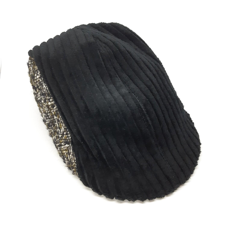 Winter cap black rib velvet and balck and olive grey bouclé - mt 58