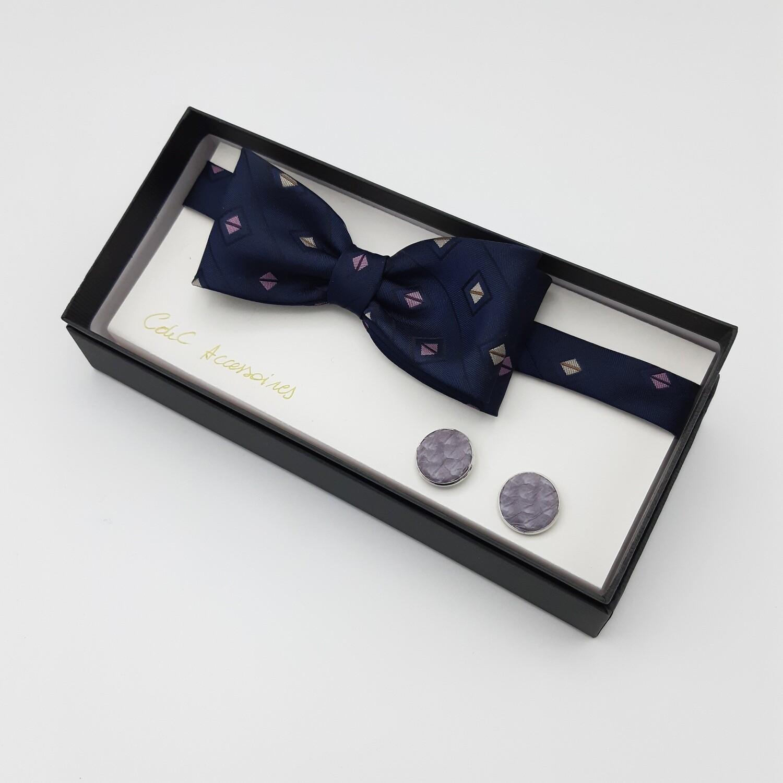 Vlinderdas, donker blauw en fijn lila motief, lavandel manchetknopen Oceanic