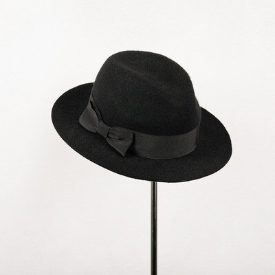 Hoed model Fedora zwarte wolvilt & breed lint en strik - mt 54