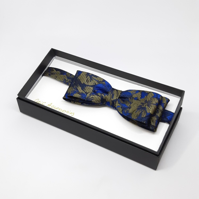 Vlinderdas, donker blauw, brons bloem motief