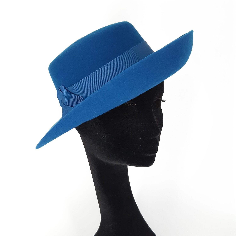 Hoed model Gisele - wolvilt groen blauw - mt 56