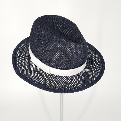 Zomer hoed - Fedora in papyrus donker blauw