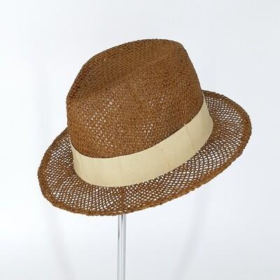 Zomer  Fedora hoed Kakki-bruin papyrus met hoge kroon & kleine rand