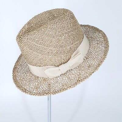 Zomer fedora hoed in zeegras met hoge kroon & brede rand - ecru lint