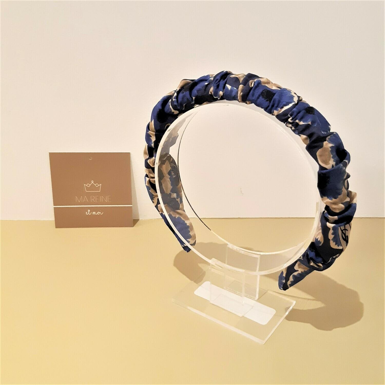 Crunchie diadeem in zijde (koningsblauw & licht blauw)