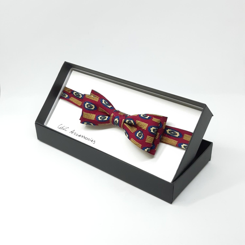 Vlinderdas, wijnrood met abstracte print